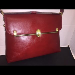 Etienne Aigner's Vintage Leather Satchel In Red